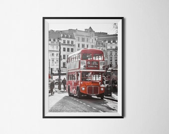 London Red Bus, Red Routemaster Bus, London Photography, Red Art, City Wall Art, Red Double Decker Bus, British Decor, Chic Art, Wall Art