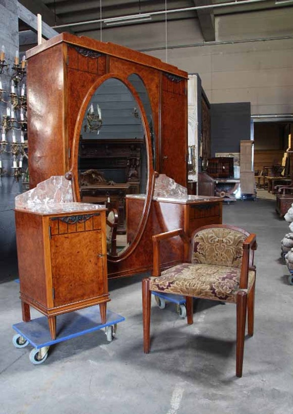 antique bedroom set art deco french walnut burl wood 4764