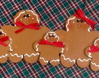 GIngerbread Couple with 3 kids hand painted personalized ornament!