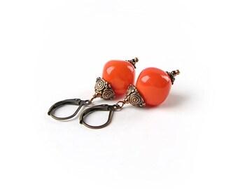 Little Orange Earrings, Lampwork Earrings, Handmade Glass Earrings, Beadwork Earrings, Boho jewelry Boho chick, Autumn Colors