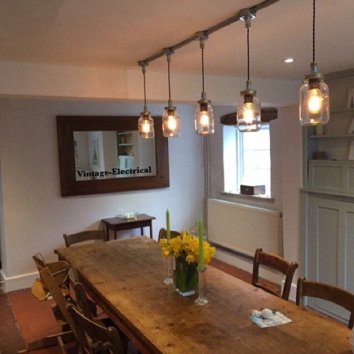 kitchen table pendant light the keswickl 5 x kilner jar hanging lights ceiling 6224