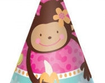 Pink Mod ''Monkey Love'' Party Hats 8ct