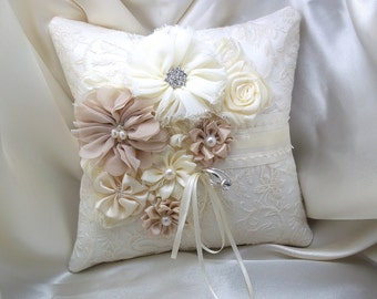 Ring Bearer Pillow, Wedding Pillow, Ivory Champagne Beige Floral Flowers, Ceremony Ring Pillow, Embroidered Lace Ring Holder, Cottage Chic