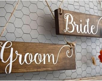 Rustic wedding chair signs, bride and groom wedding signs, shabby chic wedding decor, country wedding decor