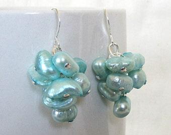 Aqua Blue Pearl Cluster Earrings, Real Pearl Earrings, Aqua Bridesmaid Earrings, Light Blue Cluster Earrings, Beach Bridesmaid Earrings