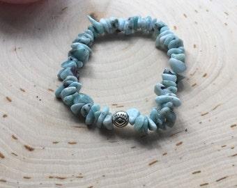 Larimar Bracelet - Larimar Stretch Bracelet - Larimar Jewelry - Larimar Healing Jewelry - Larimar - Larimar Healing Bracelet