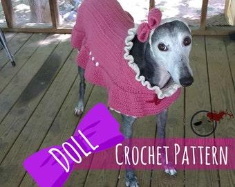 Doll Greyhound Costume Crochet Pattern (PATTERN ONLY)