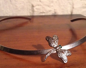 Unusual vintage silver tone Dragonfly Necklace with clear and green crystal