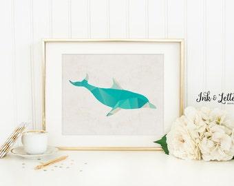 Dolphin Print - Dolphin Printable - Nautical Nursery Decor - Bathroom Decor - Sea Nursery Print - Digital - Instant Download - 8x10