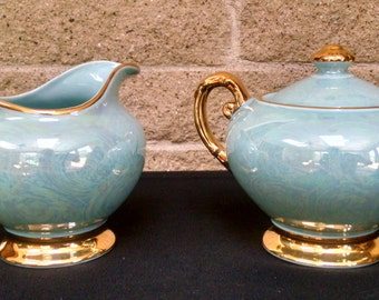 Warranted 22K Gold Turquoise and Gold Sugar Bowl and Creamer -Opalescent / Pearlescent / Iridescent / Lusterware  Aqua Vintage 1940s