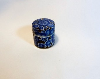 Blue Ceramic Ring Trinket Box Takahashi San Francisco Japan