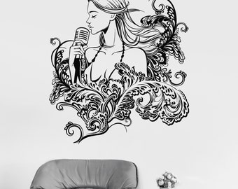 Wall Vinyl Decal Singer Girl Woman Pop Rock Music Floral Decor 2359di