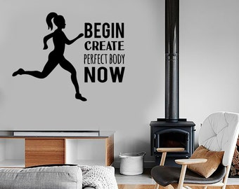 Wall Vinyl Decal Quotes Inspirational Words Perfect Body Sports Fitness Work Out Bodybuilding Gym Home Decor (#1071di)