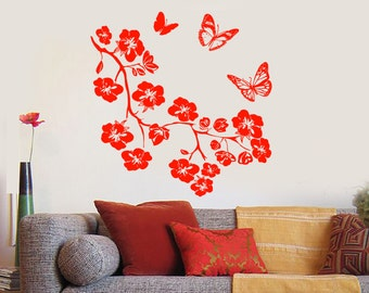 Wall Vinyl Decal Flowers Tree Branch and Butterflies Ornament Floral Modern Abstract Home Art Decor (#1164dz)