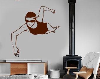 Wall Vinyl Decal Sport Swimming Fitness Swim Routine Olympic Sport Gym Pool Modern Home Decor (#1213dz)