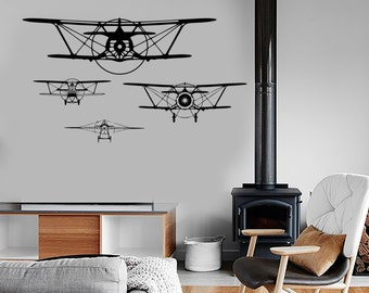 Wall Vinyl Decal Airplane Retro Jet Air Force Military Mural Decor 1680dz