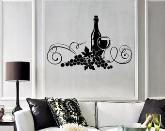Wall Vinyl Decal Wine Vine Restaurant Kitchen Bar Cool Decor 1916di