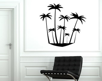 Wall Vinyl Decal Palms Tree Beach Tropical Vacation Decor 2001di