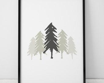 Tree Illustration INSTANT DOWNLOAD, Tree Poster, Green Trees Print, Printable, Trees Print, Illustration Artwork, Trees Printable, Forest