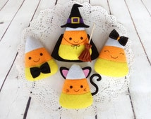 Candy Corn Halloween Ornaments Felt Toys Witch Cat Girl Boy Candy Corn Halloween Gift Hanging Spooky Decorations Trick or Treat Party Favors