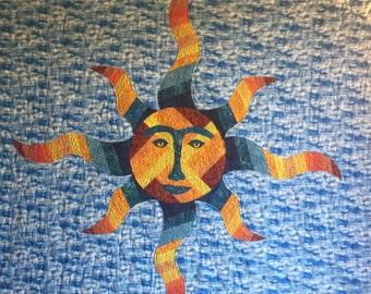 Sun - Quilt Karma Pattern - Paper Strip Piecing Raw Edge Applique