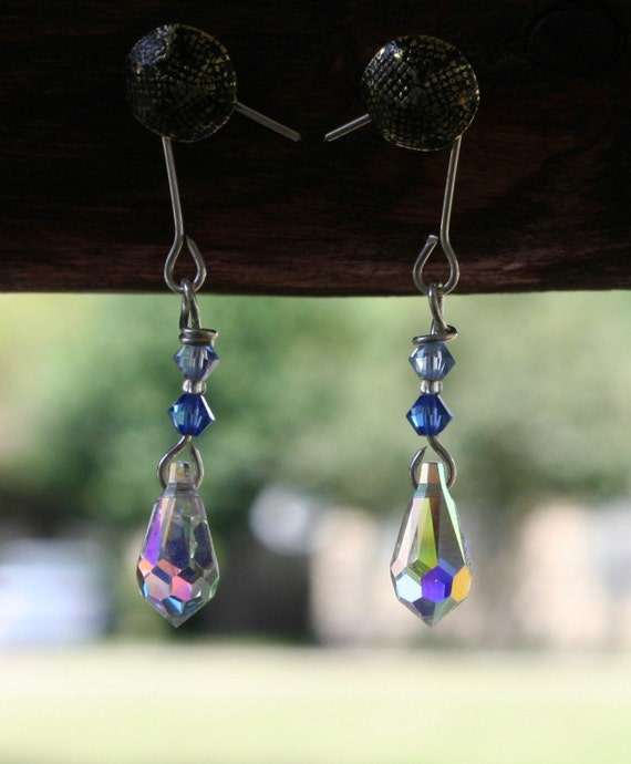Sterling Silver and Crystal Earrings (blue)