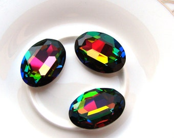 4127 Swarovski Crystal 30x22mm Oval Faceted Fancy Stone. Vitrail Medium.
