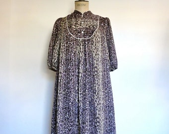 Vintage 70s party dress leopard print collectible Norman Hartnell summe hippie size S