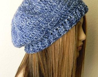 Sale! Crochet Oversized  Denim Blue Hat