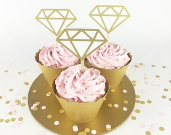 Party Decorations - Engagement Party - Diamond Cupcake Toppers - Bridal Shower - White and Gold Diamond Cupcake Toppers - Set of 12