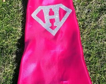 Superhero Cape Girls, pink cape, supergirl logo, girls superhero cape set, superhero costume, superhero party, christmas gift, girls cape
