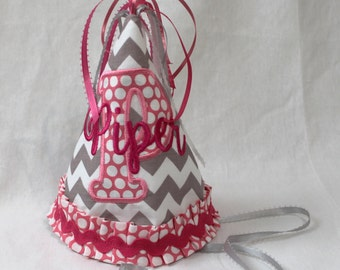 Girl's Birthday Party Hat  - Pink on gray chevron.  Includes personalization.