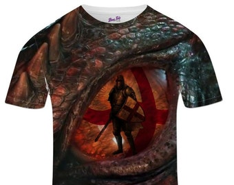 Men's St George's Day Dragon Eye Knight England Flag Dragons St Georges Day T Shirt Gifts For Men