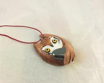Owl pendant charm hematite gemstone  jewelry white brown barn owl
