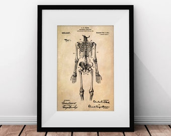 Doctor Gift, Medical Art, Skeleton Patent, Nurse Gift, Medical Student Gift, Medical Art Skeleton, Medical Patent Prints, Chiropractic Art
