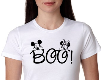 Disney Mickey and Minnie Boo!, Halloween  Shirt, funny shirt. Birthday Shirt, fashion funny, Mickey Mouse, Halloween, Minnie Mouse