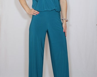 Teal blue jumpsuit Sleeveless jumpsuits women Wrap top