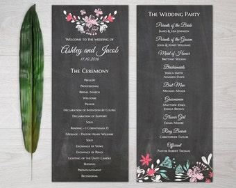 Gray wedding program Instant download Modern wedding program chalkboard Printable wedding program diy Ceremony program editable T83