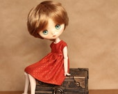 Orange Dress with Gold Dots for JerryBerry or Dal Doll