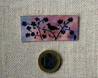 Miniature-cherry blossom and bird- Watercolour - dollhouse