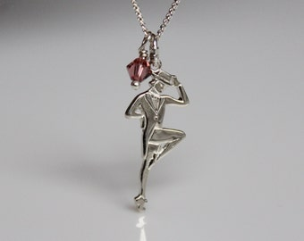 Tap Shoe Dance Jewelry, Tap Dancer Charm Necklace, Sterling Silver Tap Dancer Jewelry,