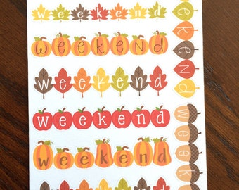 Fall Weekend Planner Stickers