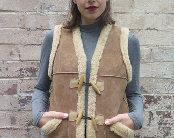 Vintage Suede Leather Sherpa Lined Vest Jacket - Free Size