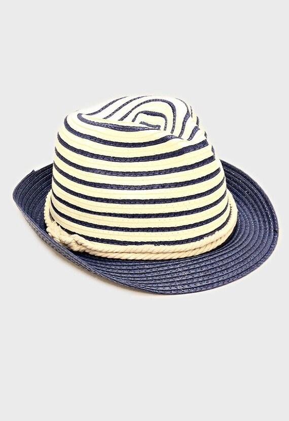 womens navy blue two tone straw fedora hat nautical rope