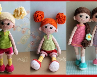 PATTERN Good girls PDF crochet two doll pattern