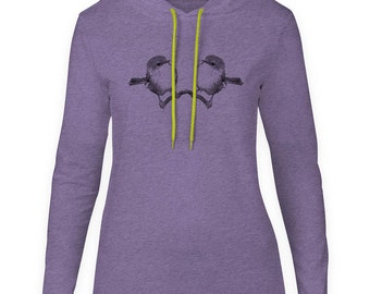 Mintage Sparrow Mirror  Womens Fine Jersey Hooded T-Shirt