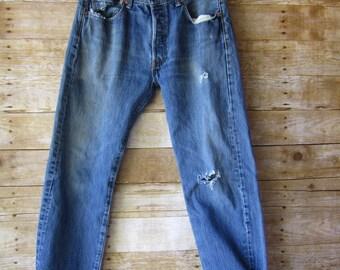 Size 31 Trashed Levi's 501 - Destroyed Denim - Hip Hop - BOHO - Hand Distressed  - Size 31 Short