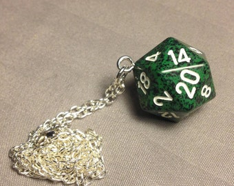Green speckled D20