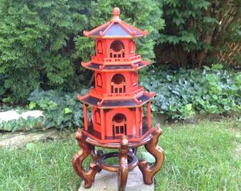 Large Pagoda Birdhouse//Asian Shrine//Zen Garden//Hand Painted