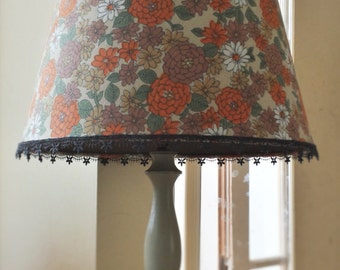 Lampshade, floral retro 70s fabric lampshade, vintage fabric plus fabric lining, pendant ceiling shade upcycled lighting, table lamp shade